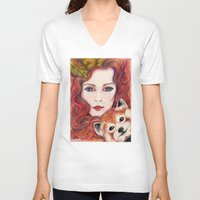 red panda V-neck T-shirts featuring Red panda by Pendientera