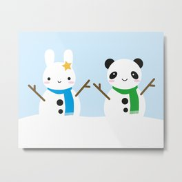 Snow Bunny & Snow Panda Metal Print