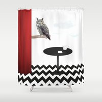 twin peaks Shower Curtains featuring Twin Peaks by Anna Lindner