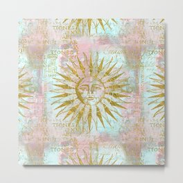 Golden Sun elegant vintage pattern Metal Print