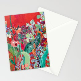 Floral Jungle on Red with Proteas, Eucalyptus and Birds of Paradise Stationery Cards