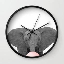 pink bubblegum baby elephant Wall Clock