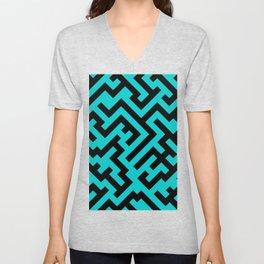 Black and Cyan Diagonal Labyrinth Unisex V-Neck