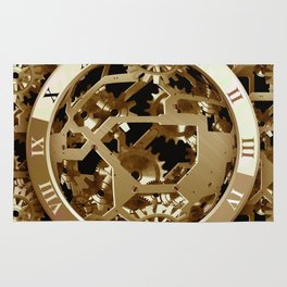 Steampunk Clocks  Gold Gears Mechanical Gifts Rug