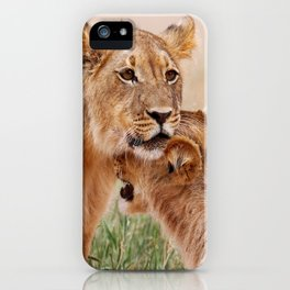 Two young lions - Africa wildlife iPhone Case