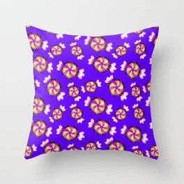 Cute lovely sweet decorative caramel toffee candy in shiny wrappers seamless pattern. Candy store. Throw Pillow