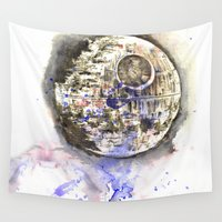 death star Wall Tapestries featuring Star Wars Art Painting The Death Star by idillard
