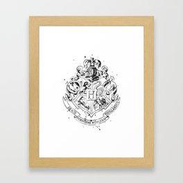 Hogwarts Crest Black and White Framed Art Print