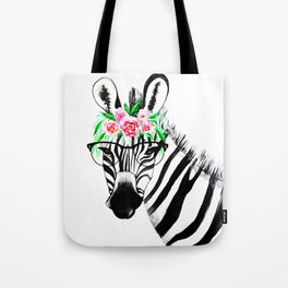 Zebra with glasses and flowers Tote Bag