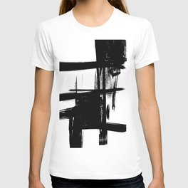 Black Brush Strokes Modern Minimalist Abstract Painting Art, nr 12 T-shirt