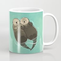 otters Mugs featuring Significant Otters - Otters Holding Hands by StudioMarimo