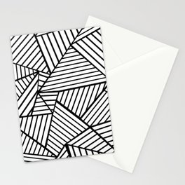 Abstraction Lines Close Up Black and White Stationery Cards