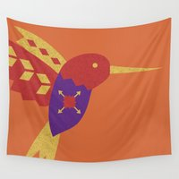 hummingbird Wall Tapestries featuring Hummingbird by Claire Lordon