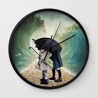 waves Wall Clocks featuring Waves by Cs025