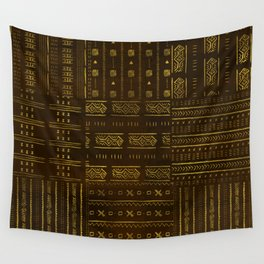 Gold African Tribal Pattern on rich brown texture Wall Tapestry