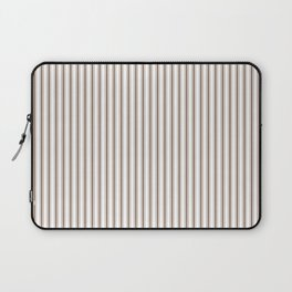 Mattress Ticking Narrow Striped Pattern in Chocolate Brown and White Laptop Sleeve
