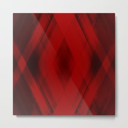 Ice triangular strokes of intersecting crisp lines with red triangles and stripes. Metal Print
