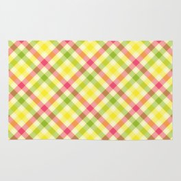 Yellow, Green and Pink Diagonal Plaid Pattern Rug