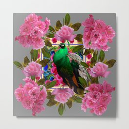 PINK ROSE CLUSTERS & GREEN PEACOCK GREY ART Metal Print