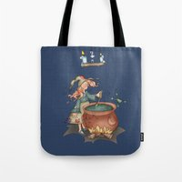 witch Tote Bags featuring Witch by Catru