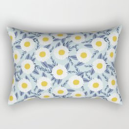 daisy flower white blue navy gold watercolor painting bohemian gardener gift unique floral pattern Rectangular Pillow