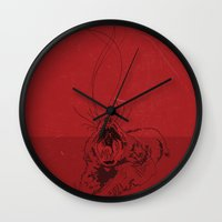 evil Wall Clocks featuring Evil by Stacy Nguyen