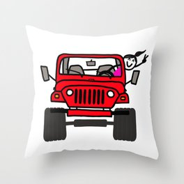Jeep Wave Girl - Red Throw Pillow