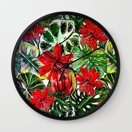 Exotic Passiflora Flowers Jungle Aloha Pattern Wall Clock