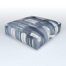 Simply Shibori Lines in Indigo Blue on Lunar Gray Outdoor Floor Cushion