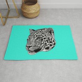 Amur leopard cub - turquoise - big cat Rug