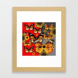 RED & GREY BROWN BUTTERFLIES ART Framed Art Print