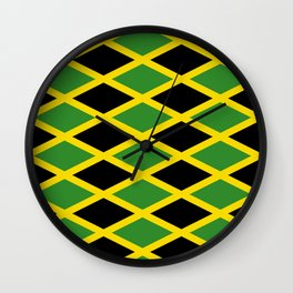 Flag of Jamaica 3-Jamaican,Bob Marley,Reggae,rastafari,cannabis,ganja,america,south america,ragga Wall Clock