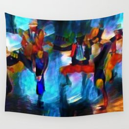 Harlem Renaissance 70's Poppin' and Lockin' African American Dance Portrait Wall Tapestry