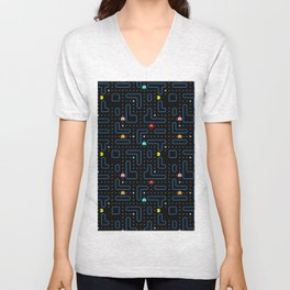 Pacman Retro Arcade Gaming Pattern Unisex V-Neck