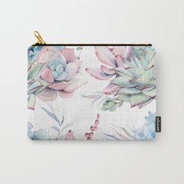 Pretty Pastel Succulents Garden 1 Carry-All Pouch