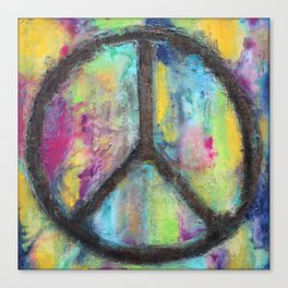 Tie Dye Peace Sign - Colorful Painting - Fluid Art Canvas Print