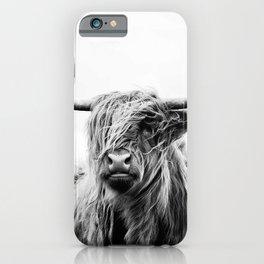 Black & White Highland Scotland Cow  iPhone Case
