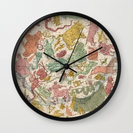 Libra Antique Astrology Zodiac Pictorial Map Wall Clock