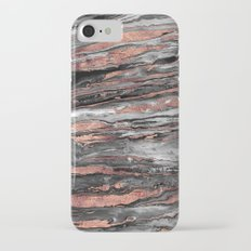 Modern rose gold abstract marbleized paint iPhone 7 Slim Case