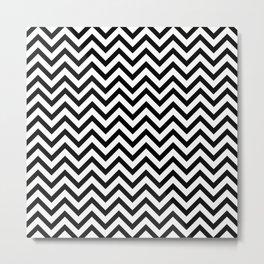 Chevron Pattern - Black & White Metal Print