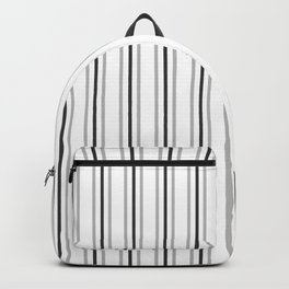Silver and Dark Grey Three Stripes Pattern on White | Vertical Stripes | Backpack