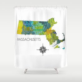 Map of MA Art Collage Shower Curtain