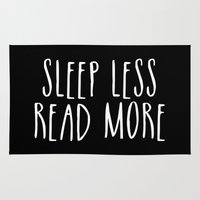 bookworm Area & Throw Rugs featuring Sleep less, read more - inverted by bookwormboutique