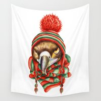 hawk Wall Tapestries featuring Hawk by Julia Badeeva