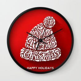 Merry Christmas Happy holidays - Red festive Typography and Illustration Wall Clock