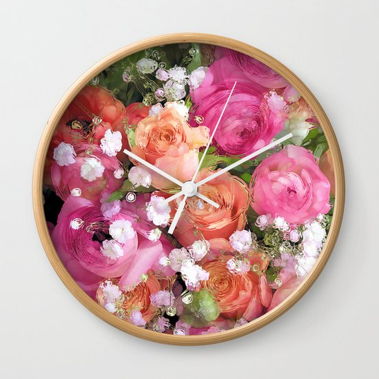 Baby's Breath and Candy Roses Wall Clock
