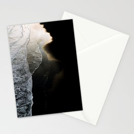 Waves on a moody black sand beach in iceland - minimalist Landscape Photography  Stationery Cards