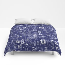 Da Vinci's Sketchbook // Dark Blue Comforters