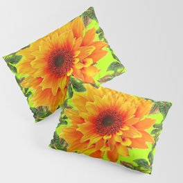 YELLOW SUNFLOWER CHARTREUSE GARDEN BROWN ART Pillow Sham