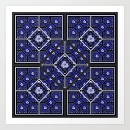 Cherokee Rose Pattern 2 royal blue and black Art Print